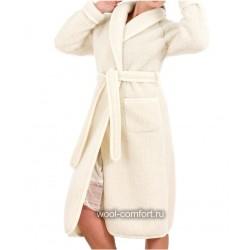 Халат 100% шерсть женский белый
