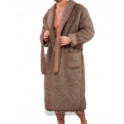 Халат 100% шерсть мужской коричневый