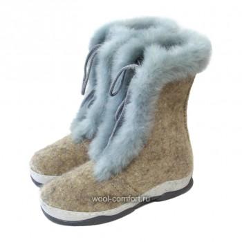 Войлочные ботинки с мехом