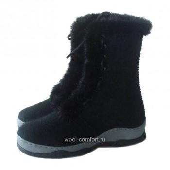 Войлочные ботинки с мехом черные