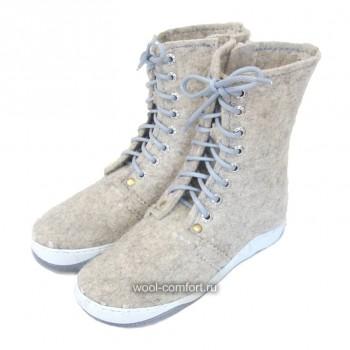 Войлочные ботинки со шнуровкой