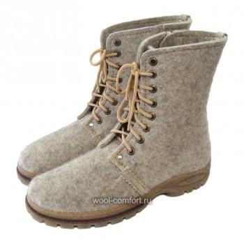 Войлочные ботинки мужские серые
