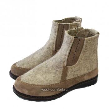 Войлочные ботинки на молнии серые