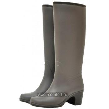 Резиновые сапоги серые на каблуке