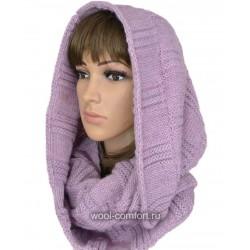 Капор шерстяной фиолетовый