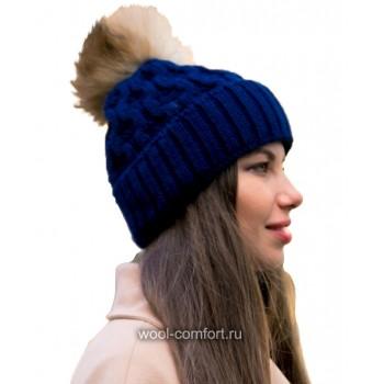 Шапка женская с помпоном синяя