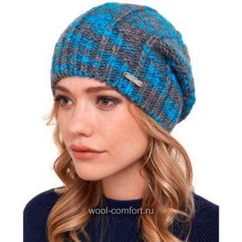 Шапка женская модная серо-голубая
