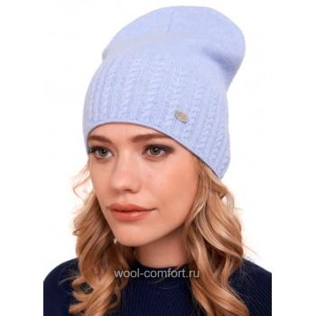 Шапка женская модная голубая