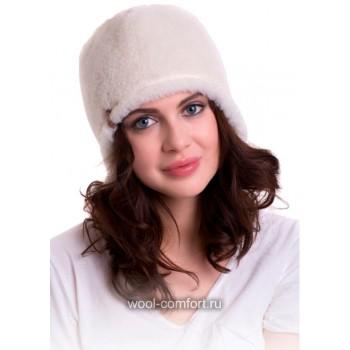 Шапка зимняя флисовая белая