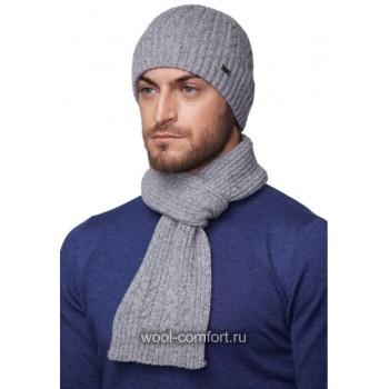 Комплект с шарфом светло-серый