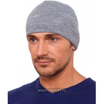 Мужская шапка классика светло-серая