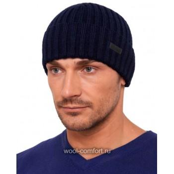 Шапка мужская синяя с рельефной вязкой